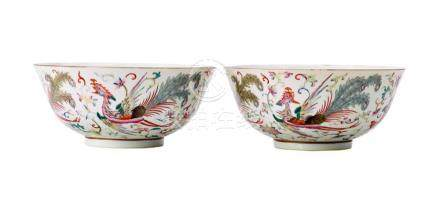 A PAIR OF FAMILLE-ROSE 'PHOENIX' BOWLS MARKS AND PERIOD OF G
