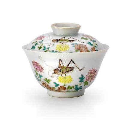 A FAMILLE-ROSE 'FLOWER AND INSECT' BOWL AND COVER SEAL MARK