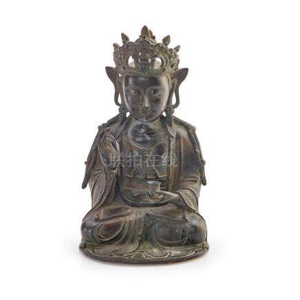 A BRONZE FIGURE OF GUANYIN LATE MING DYNASTY (2) 27.5 cm hig