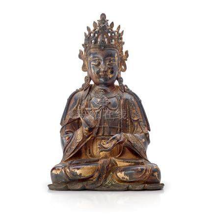 A LARGE GILT-LACQUERED BRONZE FIGURE OF A BODHISATTVA 58.5 c
