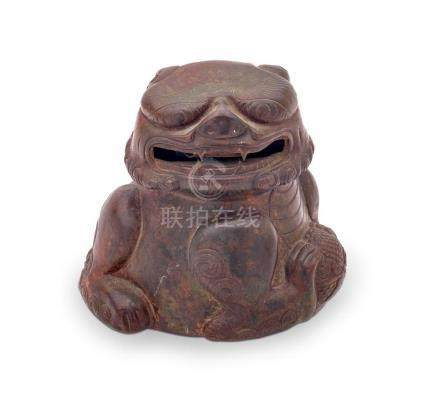 AN UNUSUAL 'BUDDHIST LION' LIBATION CUP 11 cm wide