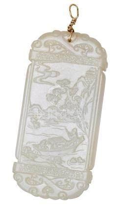 A RECTANGULAR JADE PLAQUE 6.5 cm high