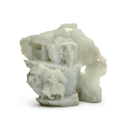 A CELADON JADE MOUNTAIN QING DYNASTY (2) 13 cm long