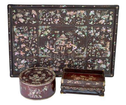 TWO MOTHER OF PEARL INLAID HARDWOOD TRAYS AND A BOX (3) tray