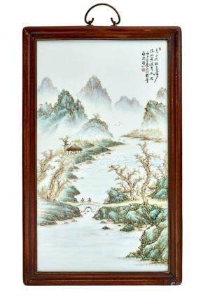 A RECTANGULAR PORCELAIN PLAQUE, 20TH CENTURY 44.8 x 30.5 cm,
