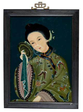 A REVERSE GLASS PAINTING, 20TH CENTURY 68 x 50.5 cm overall