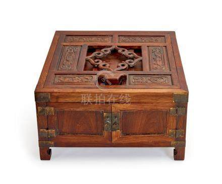 A HUANGHUALI AND HARDWOOD MIRROR STAND QING DYNASTY 24 cm hi