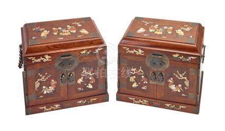 A PAIR OF HUANGHUALI AND HARDWOOD 'BOYS' CANTED TOP TABLE CA