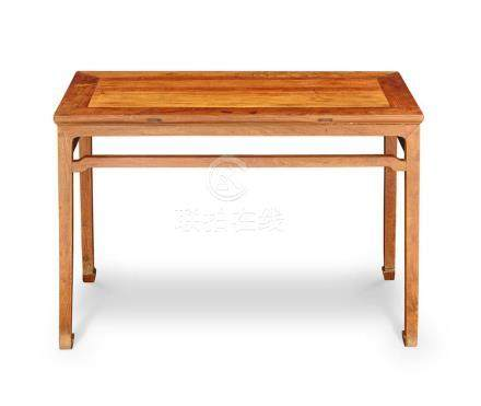 A HUANGHUALI AND HARDWOOD CORNER LEG SIDE TABLE, TIAOZHUO 84