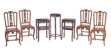 A SET OF HARDWOOD CHAIRS AND TABLES (7) chairs 96 cm high, 4