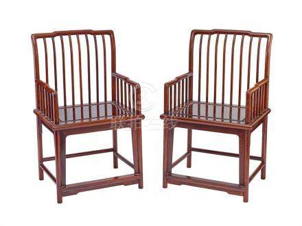 A PAIR OF JICHIMU SPINDLE-BACK ARMCHAIRS (2) each 94 cm high