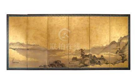 A SIX-PANEL UNKOKU-SCHOOL SCREEN, 18TH CENTURY each panel 17