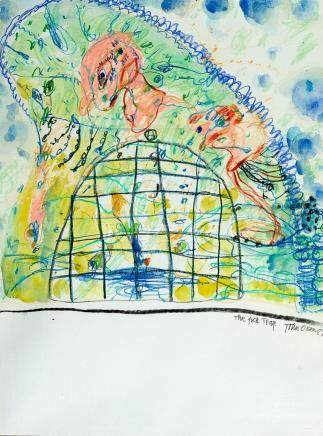 JOHN OLSEN born 1928 The Fish Trap 1987 watercolour and past