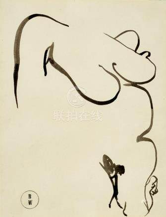 BRETT WHITELEY 1939-1992 (Nude) (circa 1980) ink on paper 22