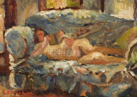 NOEL COUNIHAN 1913-1986 (Nude on Couch) 1948 oil on composit