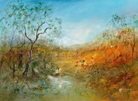 DAVID BOYD 1924-2011 Antipodean Picnic oil on canvas on comp