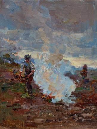 HANS HEYSEN 1877-1968 Burning Off 1897 oil on board 30.5 x 2