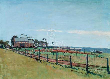 § CHARLES LLOYD JONES 1878-1958 The Farm oil on canvas on bo