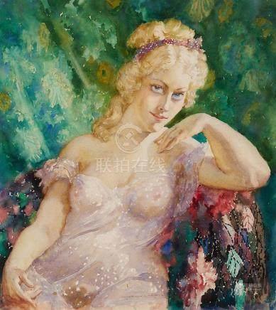 NORMAN LINDSAY 1879-1969 Portrait of Sylvia (circa 1937) wat