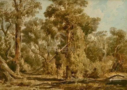 LOUIS BUVELOT 1814-1888 Landscape with Gum Trees 1878 waterc