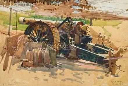ARTHUR STREETON 1867-1943 Camouflaged Siege Gun, Querrieu 19