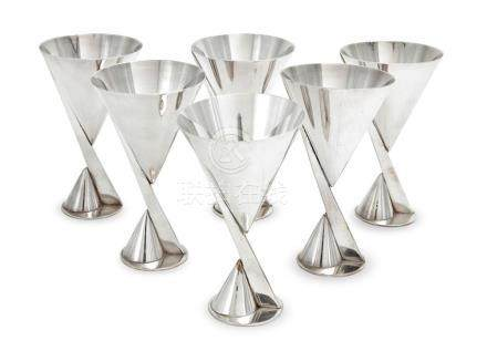 MAISON DESNY A set of six silvered-metal martini cups, circa
