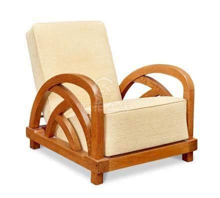 An Art Deco oak lounge chair, possibly American, circa 1935