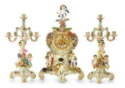 An impressive Meissen porcelain clock garniture, German, cir