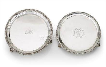 Two similar sterling silver salvers, first half 19th century