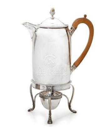 A George III sterling silver coffee biggin on stand, John Em