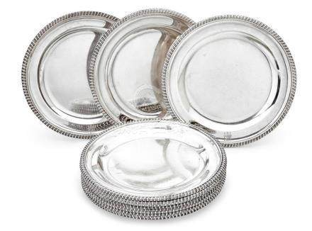 A set of twelve George III sterling silver plates, William B