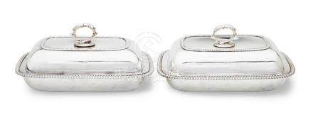 A pair of George III sterling silver lidded entrée dishes, H