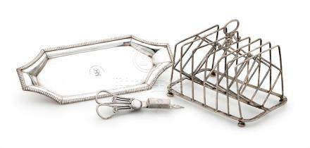A George III sterling silver candle snuffer, snuffer tray an