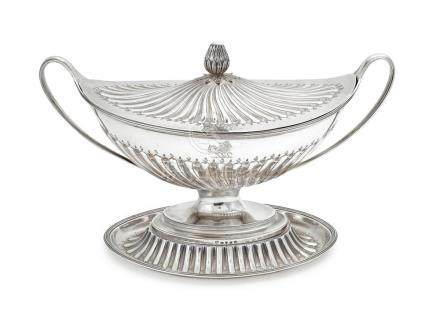 A sterling silver soup tureen on an associated stand, John S