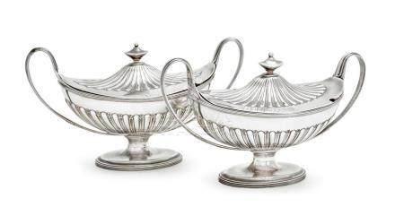 A pair of George III sterling silver vegetable tureens, Henr