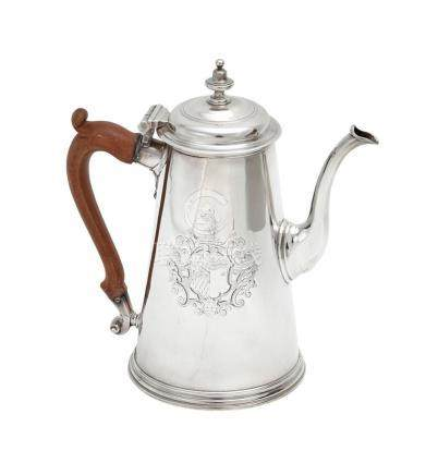 A George II sterling silver coffee pot, maker's mark rubbed,
