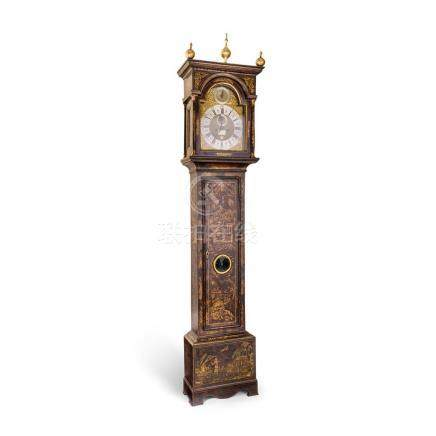 A George II Chinoiserie black lacquered longcase clock, the