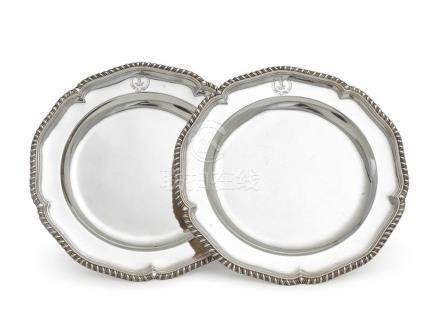 A pair of George III sterling silver plates, possibly John S
