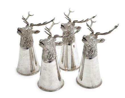 A set of four German silver 'stag' rhyton stirrup cups, reta