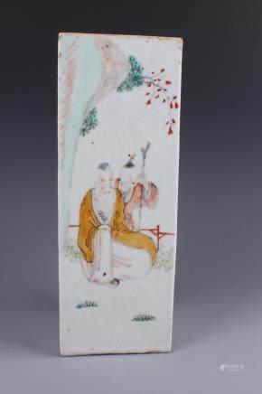 A Chinese Polychrome Enameled porcelain square shaped vase