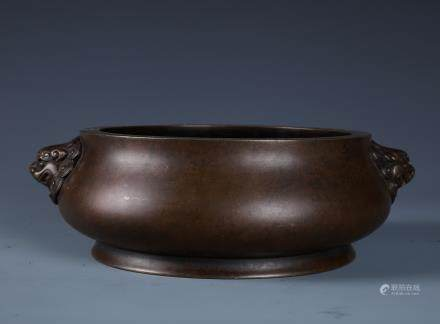 A Chinese Bronze Circular Censer with Twin Lion Handles