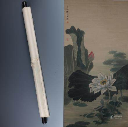 A Chinese Painting Scroll Depicting Lotus Signed by Chen Zhifu