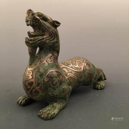 Chinese Silvering and Gold Plating 'Ruishou' Figure
