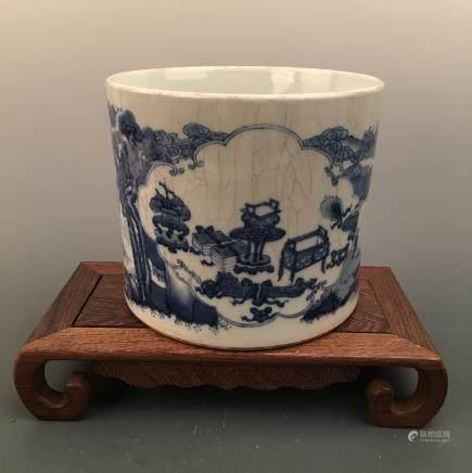 Chinese Blue-White Living Scene Container, Kangxi Mark