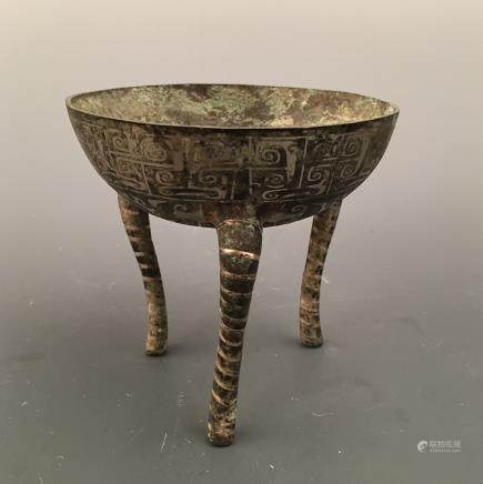 Chinese Silvering and Gold Plating Tripod Container