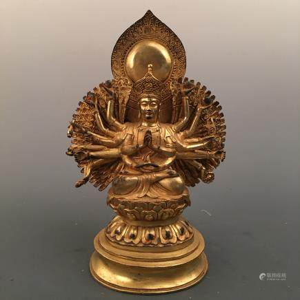 Chinese Gilt Bronze Avalokitesvara Figure