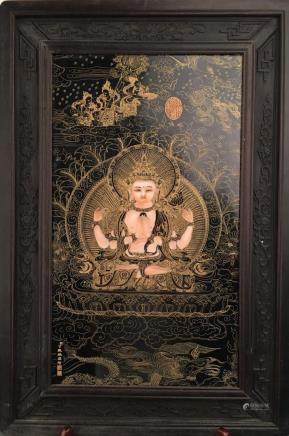 Chinese Framed Thangka, Ding Guanpeng Signature