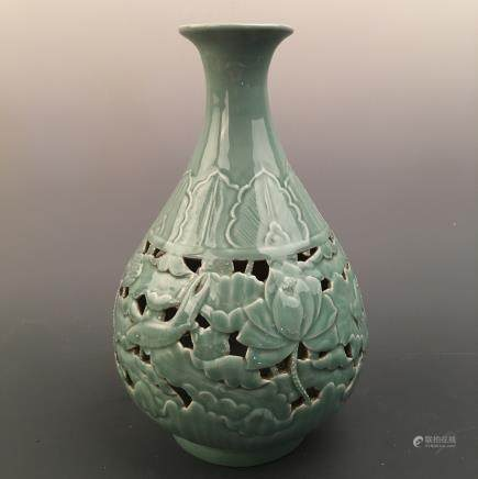 Chinese Longquan Kiln 'Lotus' Bottle Vase, Qianlong Mark