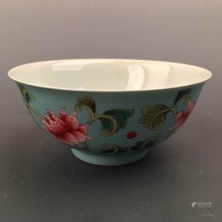 Chinese Famille Rose Bowl, Kangxi Mark