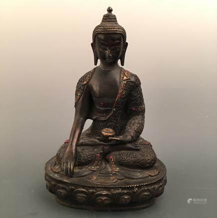 Chinese Bronze Buddha Figure Inlaid Gemstones
